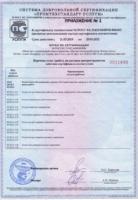 Приложение №1 к Сертификату соответствия