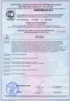 Приложение №2 к Сертификату соответствия